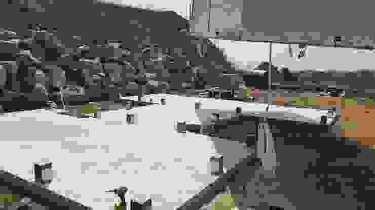 설치전 미리 배관작업과 콘크리트 타설을 해놓은 모습 by 스마트하우스