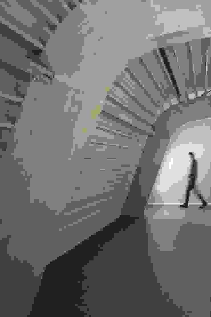 Gang onder het gebogen dak Moderne gangen, hallen & trappenhuizen van Erik Knippers Architect Modern Hout Hout