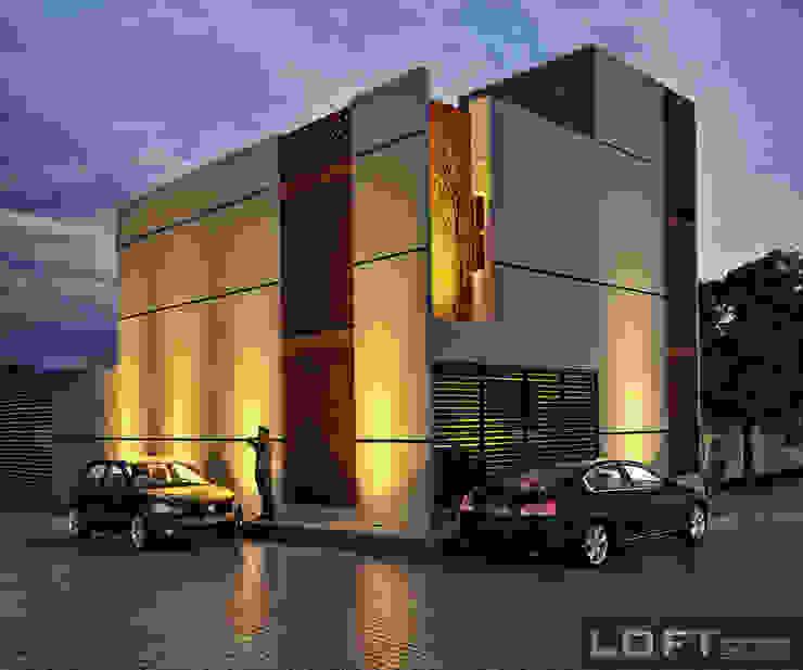 Casa Beth Fachada Exterior Casas modernas: Ideas, diseños y decoración de LOFT ESTUDIO arquitectura y diseño Moderno Cerámico