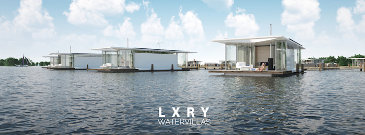 Eco Ville #02 Moderne huizen van LXRY Watervillas Modern Glas