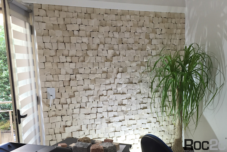 Parede em Calçada Portuguesa Lojas e Espaços comerciais modernos por Roc2c Moderno Pedra