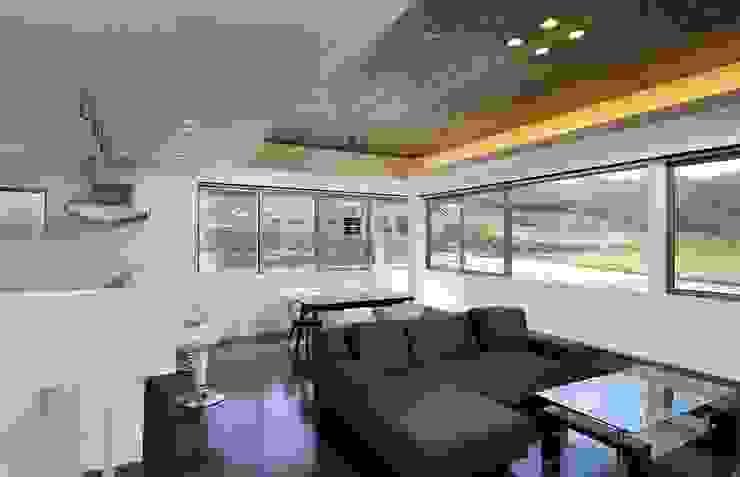 House H2 一級建築士事務所 ima建築設計室 モダンデザインの リビング 合板(ベニヤ板) 黒色