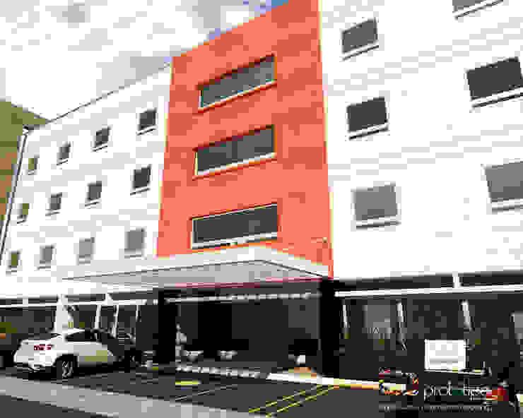 Fachada Hotel Morelia Prototipo Arquitectos Hoteles de estilo moderno Naranja