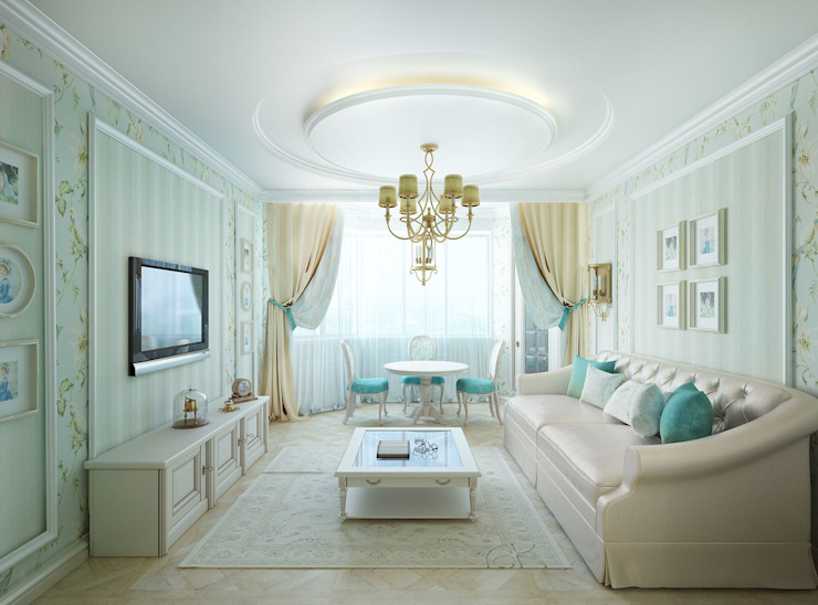 غرفة المعيشة تنفيذ Дизайнер Светлана Юркова, كلاسيكي