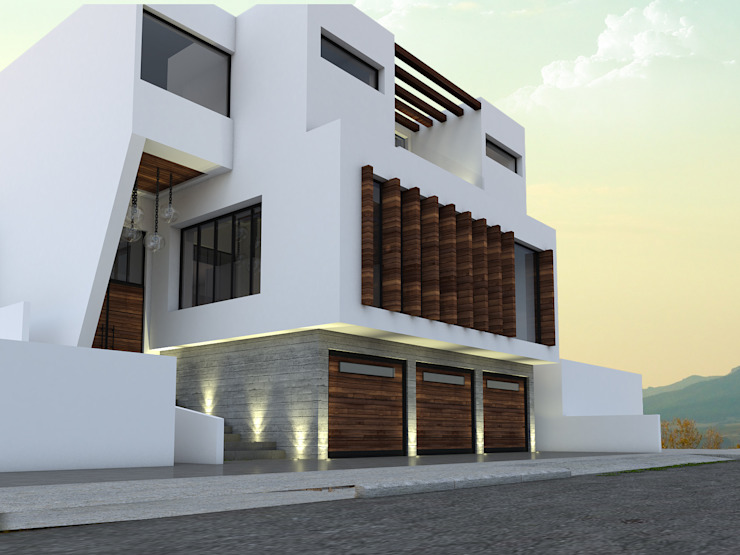 Fachada frontal y lateral de Spacio Diseño Construcción