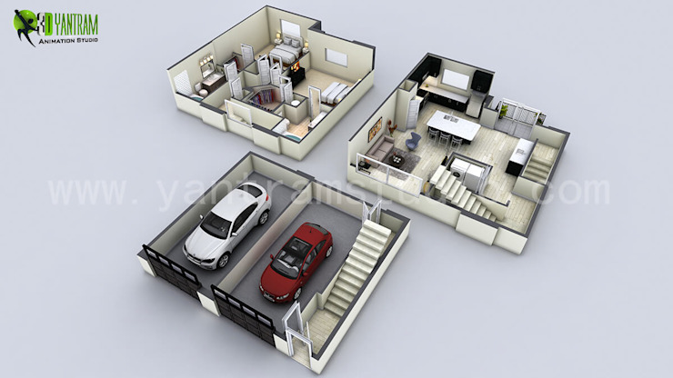 3D House Floor Plan por Yantram Architectural Design Studio