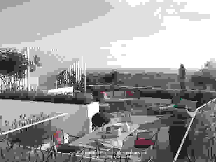 Vista de una azotea Balcones y terrazas de estilo mediterráneo de TUAN&CO. arquitectura Mediterráneo