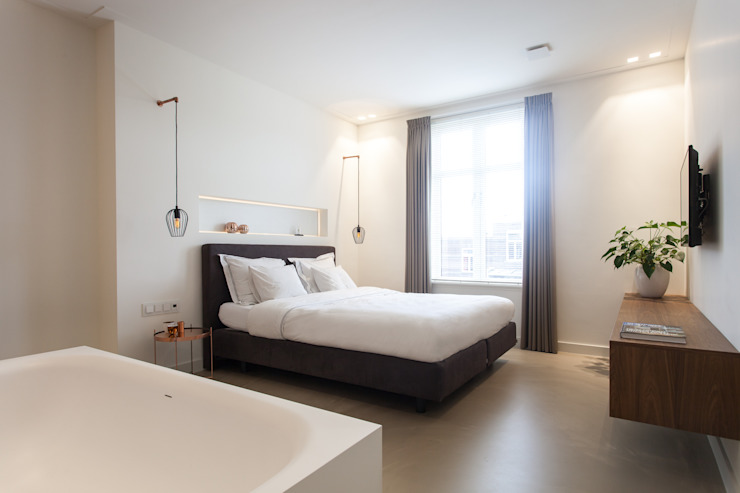 Slaapkamer/badkamer Moderne slaapkamers van Bob Romijnders Architectuur + Interieur Modern