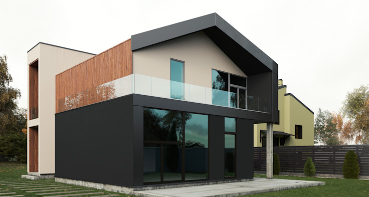 Grynevich Architects Minimalist house Metal Black
