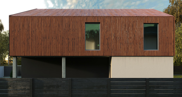 Grynevich Architects Minimalist house Engineered Wood Brown