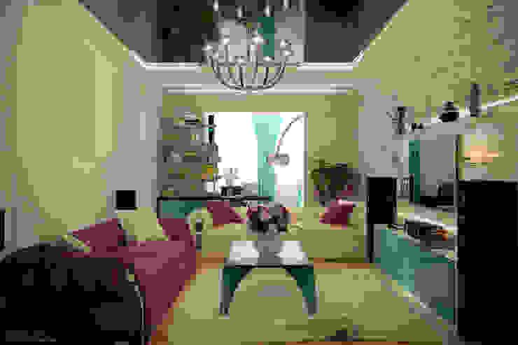 Дизайн гостиной в современном стиле в ЖК по ул. Казбекская Гостиная в стиле модерн от Студия интерьерного дизайна happy.design Модерн
