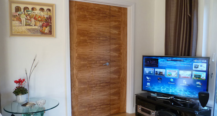 Olive Tree Veneered Doors Evolution Panels & doors Modern windows & doors Wood Yellow