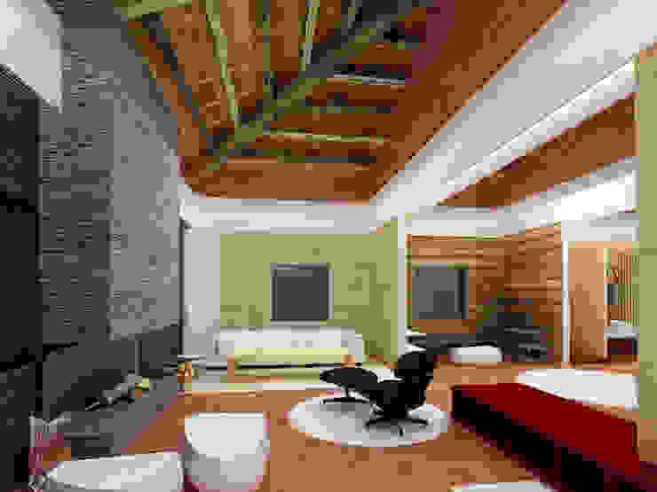 Los espacios recubiertos por nuestros paneles TotalStone hacen del entorno algo acogedor.: Salas / recibidores de estilo  por FORMICA Venezuela