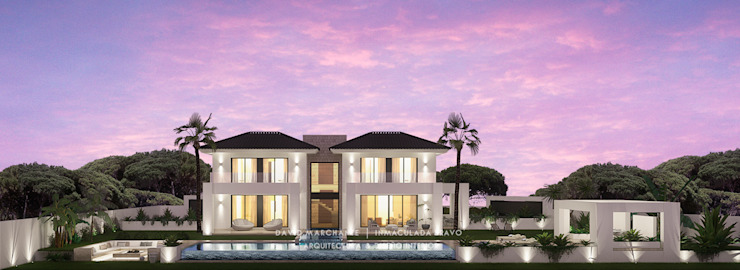 Dmg-Arquitectura - David Marchante - Inmaculada Bravo - Villa Benahavis - Cam 05 noche Jardines mediterráneos de David Marchante | Inmaculada Bravo Mediterráneo