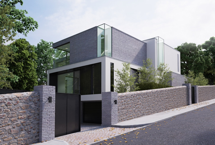 This 3 floor residence fully adopts the qualities of a steeply sloping site with views over Dublin Bay Modern houses by Des Ewing Residential Architects Modern