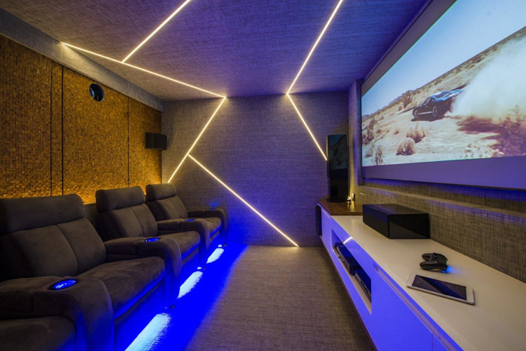 homify Modern media room Blue