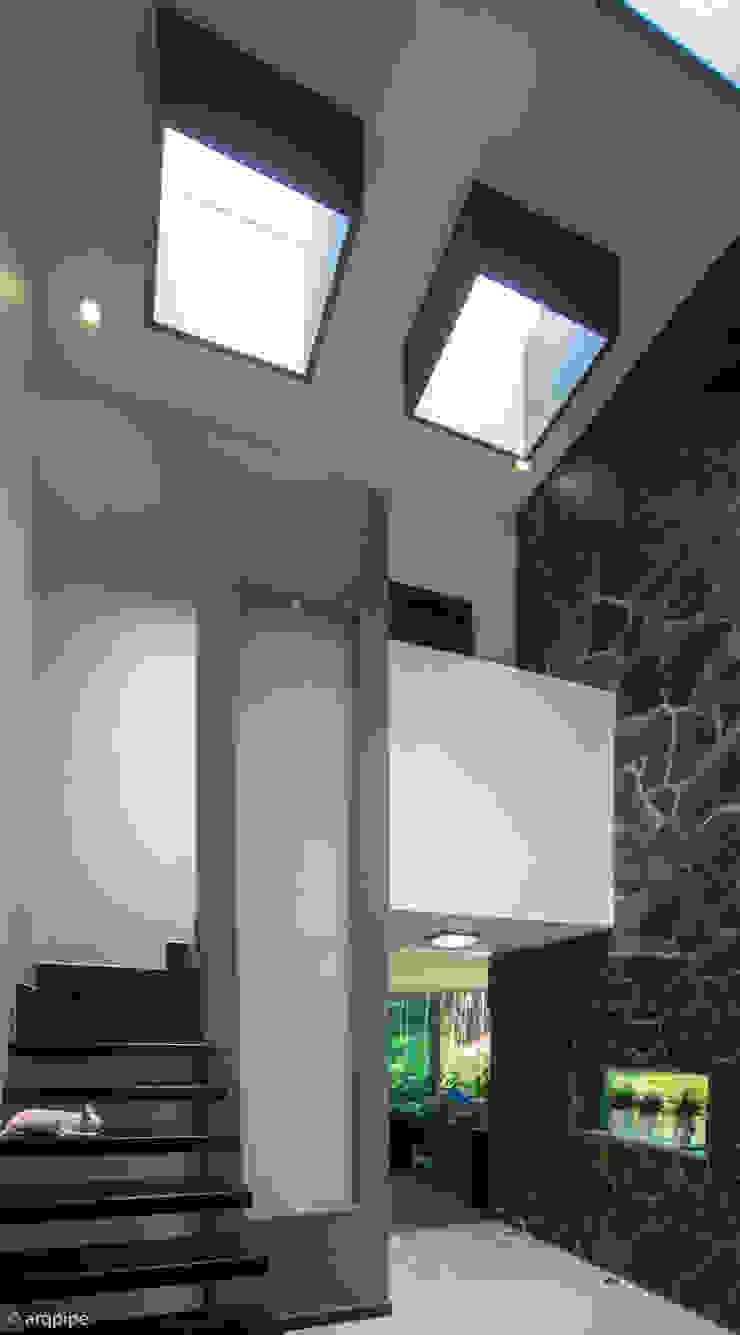 CASA PAROTA Paredes y pisos de estilo moderno de LUIS GRACIA ARQUITECTURA + DISEÑO Moderno Piedra