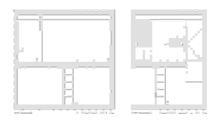 cortes transversais Lojas e Espaços comerciais minimalistas por AR arquitectura Minimalista