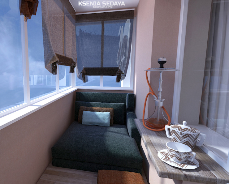 minimalist style balcony, porch & terrace by Студия Ксении Седой Minimalist