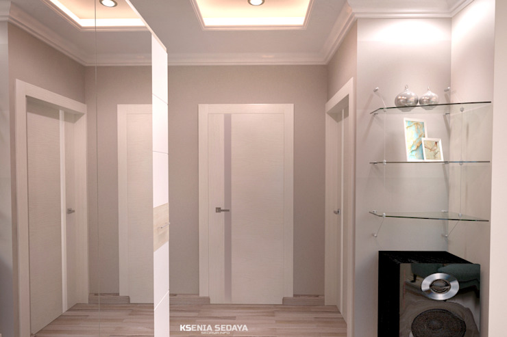 Дизайн морского интерьера трехкомнатной квартиры Студия Ксении Седой Коридор, прихожая и лестница в эклектичном стиле Бежевый
