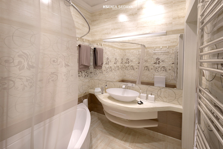 Дизайн морского интерьера трехкомнатной квартиры Ванная комната в эклектичном стиле от Студия Ксении Седой Эклектичный