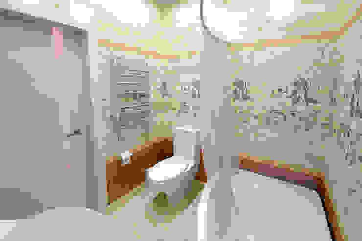 Дизайн морского интерьера трехкомнатной квартиры Студия Ксении Седой Ванная комната в эклектичном стиле Бежевый