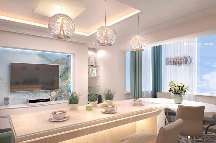 Дизайн морского интерьера трехкомнатной квартиры Студия Ксении Седой Гостиные в эклектичном стиле Бежевый