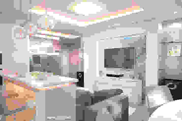 Дизайн морского интерьера трехкомнатной квартиры Гостиные в эклектичном стиле от Студия Ксении Седой Эклектичный