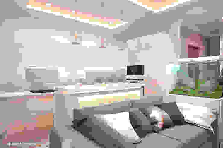Дизайн морского интерьера трехкомнатной квартиры Студия Ксении Седой Кухни в эклектичном стиле Бежевый