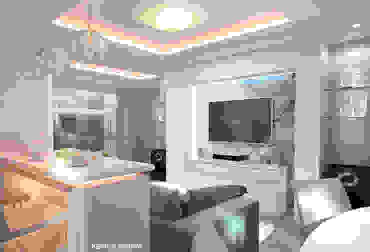 Дизайн морского интерьера трехкомнатной квартиры Студия Ксении Седой Гостиные в эклектичном стиле Белый