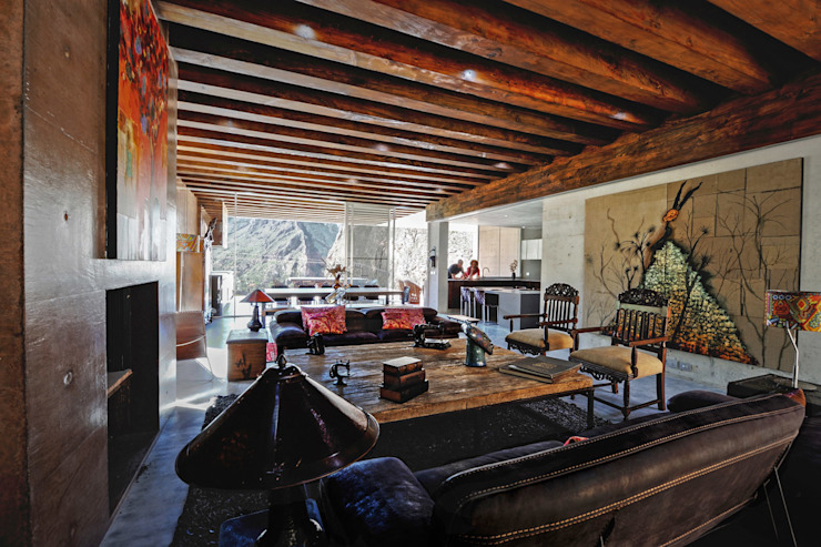 Casa Narigua - P+0 Arquitectura Salones de estilo moderno de pmasceroarquitectura Moderno Madera Acabado en madera