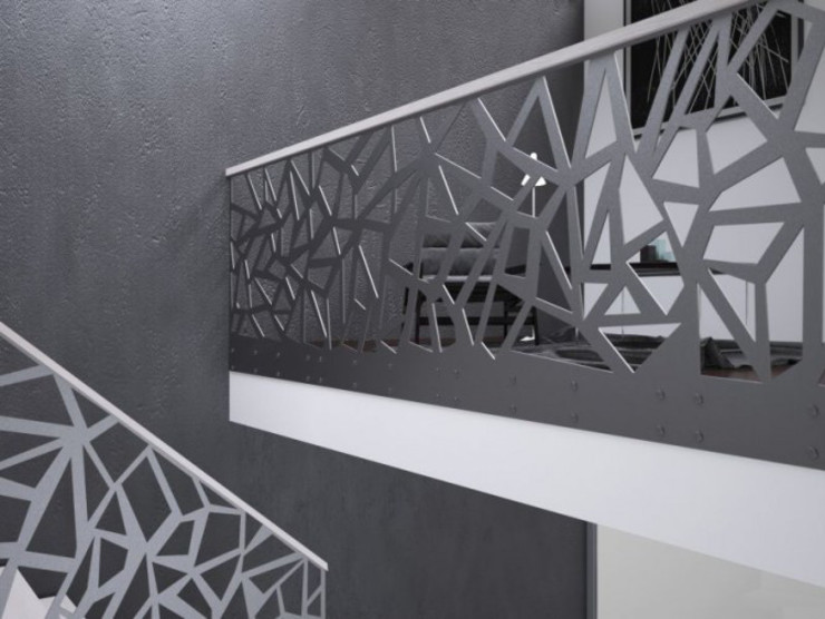 Modern Corridor, Hallway and Staircase by homify Modern Iron/Steel