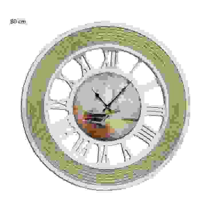 Ahşap Halatlı Duvar Saati 80 cm. Beyaz Otantik Çarşı Kırsal/Country