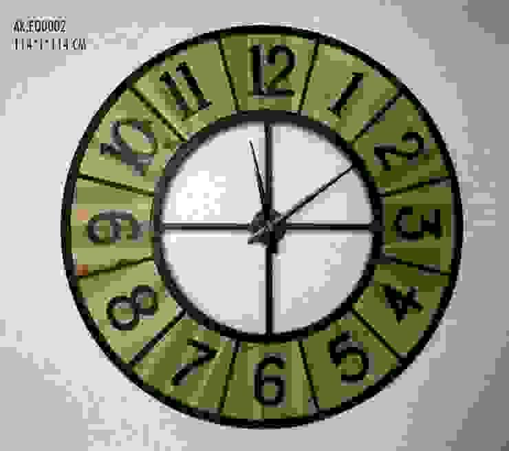 Eskitme Ahşap Metal (Ferforje) Duvar Saati 114 cm. Otantik Çarşı Kırsal/Country