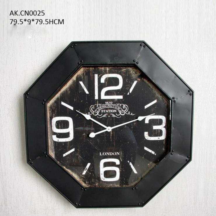 Eskitme Metal (Ferforje) Sekizgen Duvar Saati 79,5 cm. Otantik Çarşı Kırsal/Country
