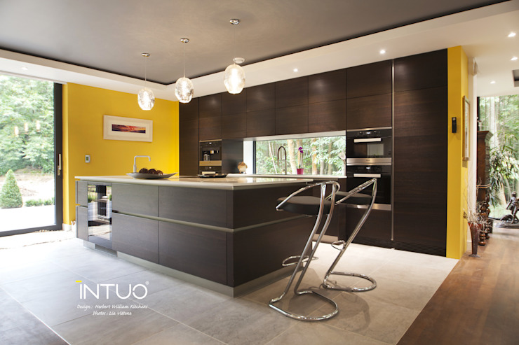Dark wood handleless kitchen Cocinas modernas: Ideas, imágenes y decoración de Intuo Moderno Madera Acabado en madera