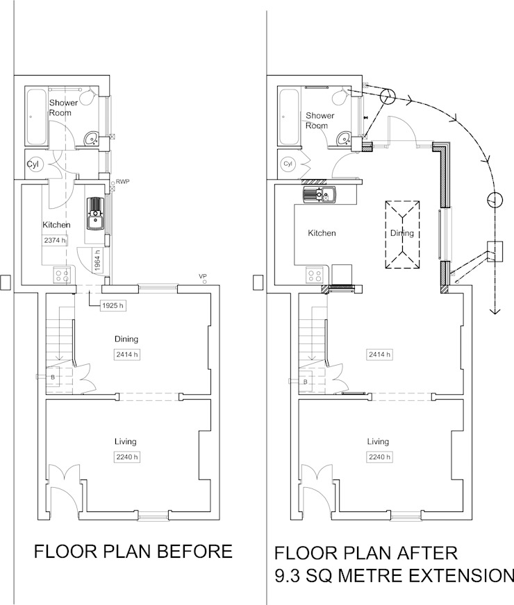 Floor Plan Before and After: modern  by JMAD Architecture (previously known as Jenny McIntee Architectural Design), Modern