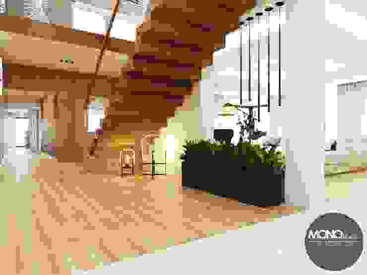 Modern corridor, hallway & stairs by MONOstudio Modern