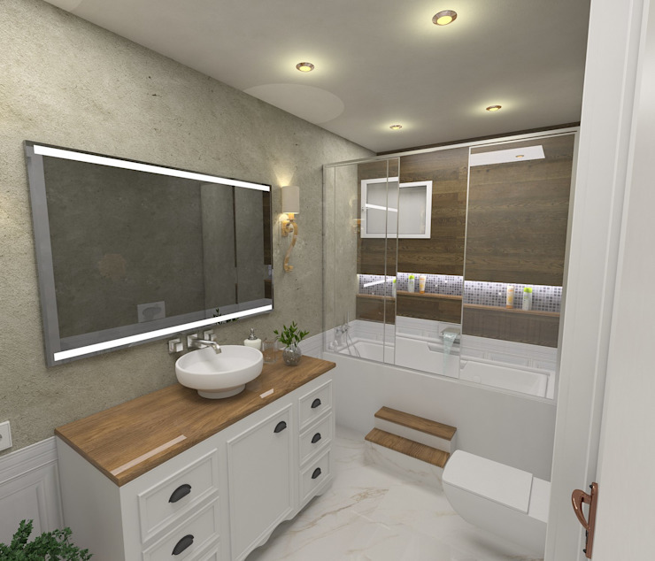 Country style bathrooms by Murat Aksel Architecture Country Wood Wood effect