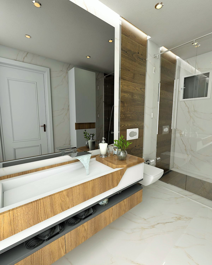 Modern Bathroom by Murat Aksel Architecture Modern Solid Wood Multicolored
