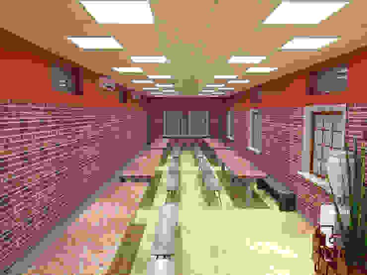 Dinning Hall Asian style dining room by EBEESDECOR Asian Bricks