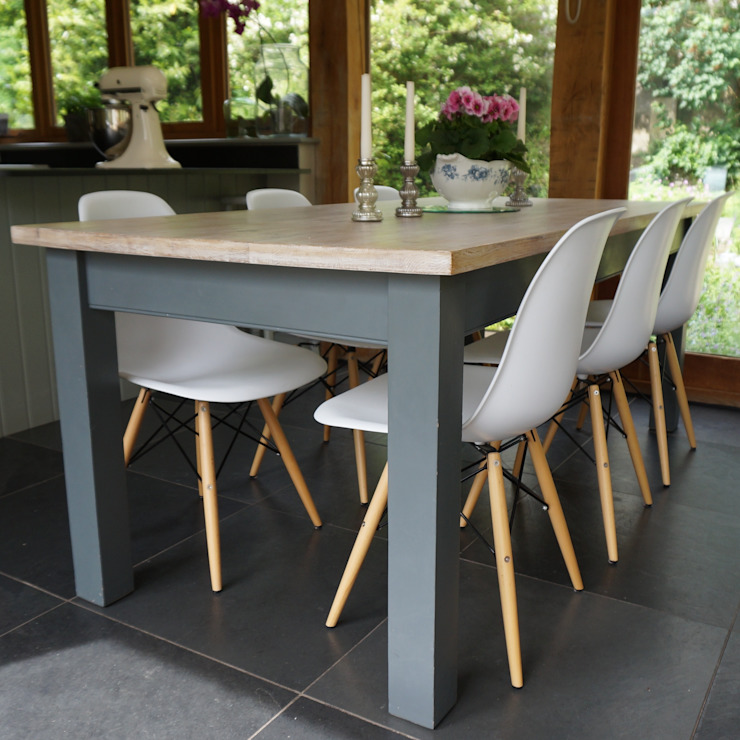 Hand painted classic table and Eames style chairs: modern  by Rectory Blue, Modern Wood Wood effect