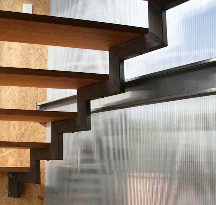 Barn House - Stairs Country style corridor, hallway& stairs by Strey Architects Country Wood Wood effect