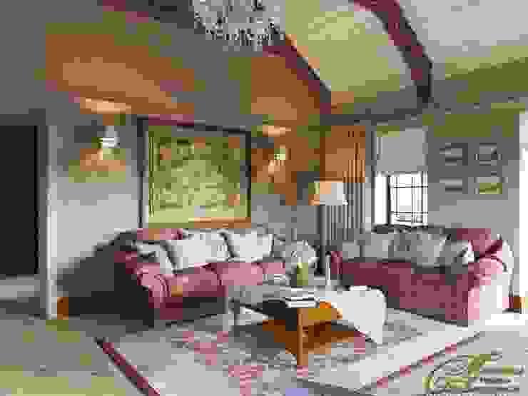 Гостиная в стиле ретро Гостиные в эклектичном стиле от Компания архитекторов Латышевых 'Мечты сбываются' Эклектичный