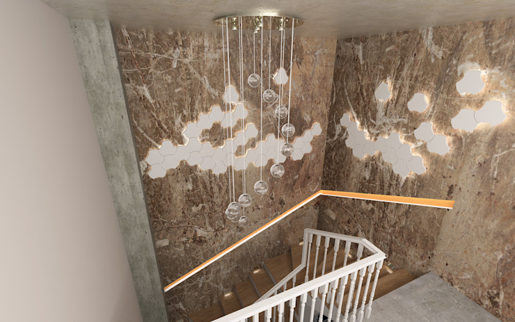 Murat Aksel Architecture Corridor, hallway & stairsStairs Marble Beige
