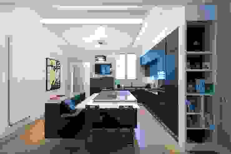 Cuisine ouverte sur salle de séjour Salle à manger moderne par LA CUISINE DANS LE BAIN SK CONCEPT Moderne