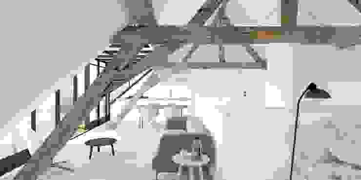 Loft Moderne woonkamers van De Nieuwe Context Modern Hout Hout