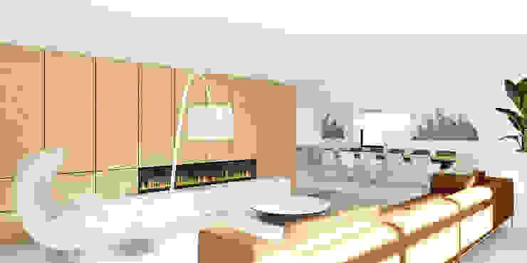 kastenwand Moderne woonkamers van De Nieuwe Context Modern Hout Hout