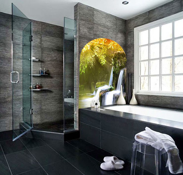 Fotoceramic Tropical style bathrooms