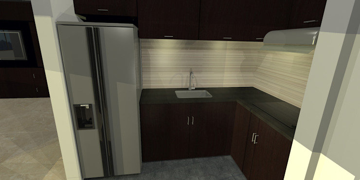 apartment 039 Cocinas de estilo minimalista de origini Minimalista Aglomerado